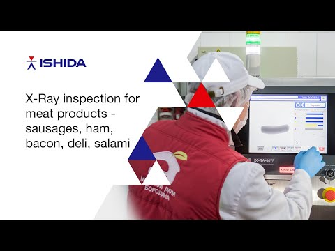 Ishida X Ray inspection for meat products - sausages, ham, bacon, deli, salami видео
