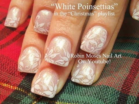 Christmas - Nail Art for Christmas - (In the christmas playlist) The ultimate White Christmas poinsettia flower! Searching for a specific design? search