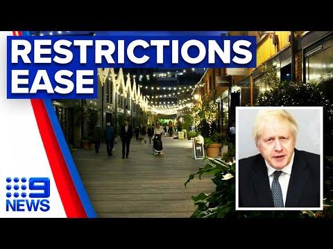 Coronavirus: Boris Johnson announces end date to lockdown | 9 News Australia