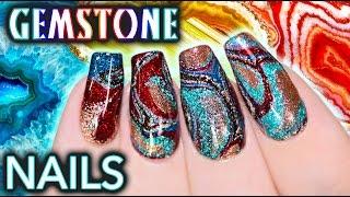 Video DIY Gemstone Nail Art - NO WATER WATERMARBLE! MP3, 3GP, MP4, WEBM, AVI, FLV Februari 2018
