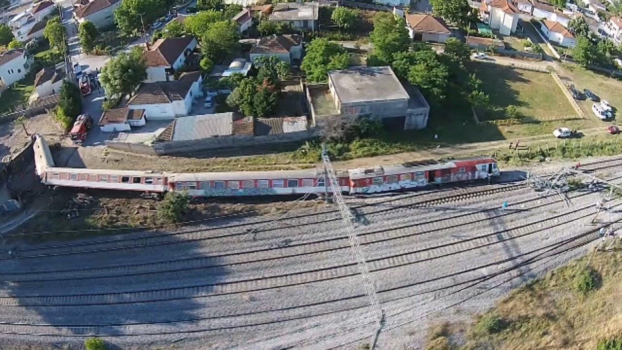 Εναέρια πλάνα απο τον τόπο του σιδηροδρομικού δυστυχήματος