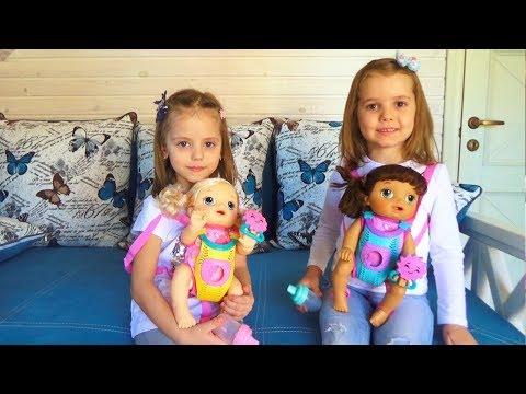 Мисс Кейти и Настя КАК МАМА с куклами Ваbу Аlivе Кормят одевают Катают в коляске КУКЛЫ пупсики - DomaVideo.Ru