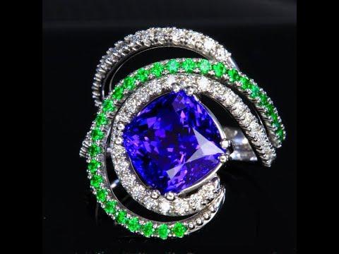 Tanzanite Ring with Diamond and Tsavorite Accents