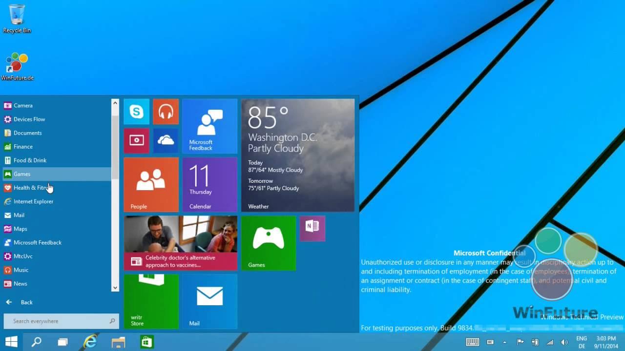 Windows 9: Das neue Startmenü in Aktion