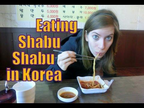 Eating Shabu-shabu Korean Hot Pot