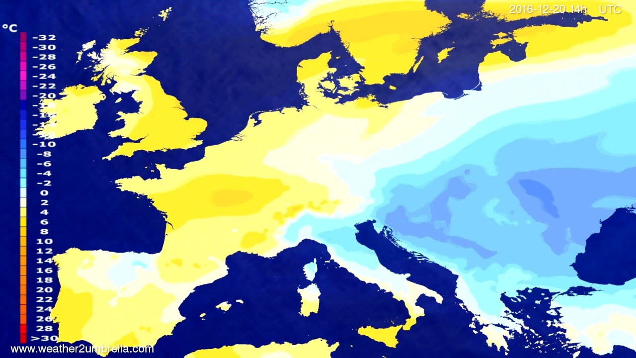 Temperature forecast Europe 2016-12-16