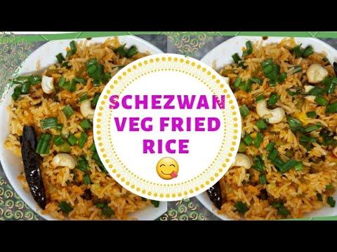 schezwan veg fried rice in Tamil/Indo Chinese recipe/ Restaurant style schezwan spicy veg fried rice