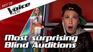 Video TOP 10 | SURPRISING BLIND AUDITIONS in The Voice Kids MP3, 3GP, MP4, WEBM, AVI, FLV Maret 2019