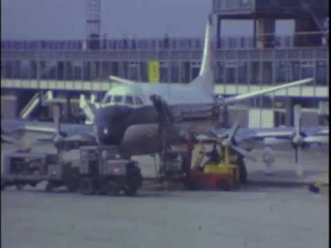 airliners - Various 8mm videos from 1965 to 1971 showing classic UK turboprop commercial airliners including the Vickers Viscount and Bristol Britannia being flown by BE...