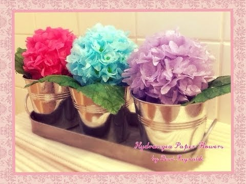 DIY – How to Make Hydrangea Paper Flower – Room, Gift Box, Frame, Ball Decoration