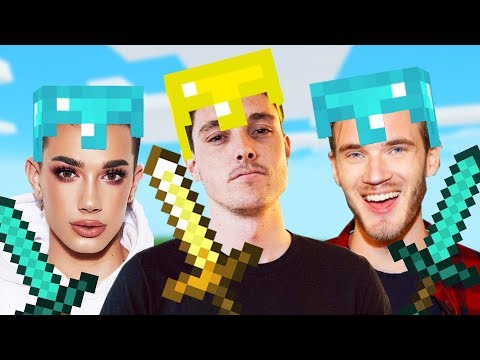 MINECRAFT With Pewdiepie & James Charles