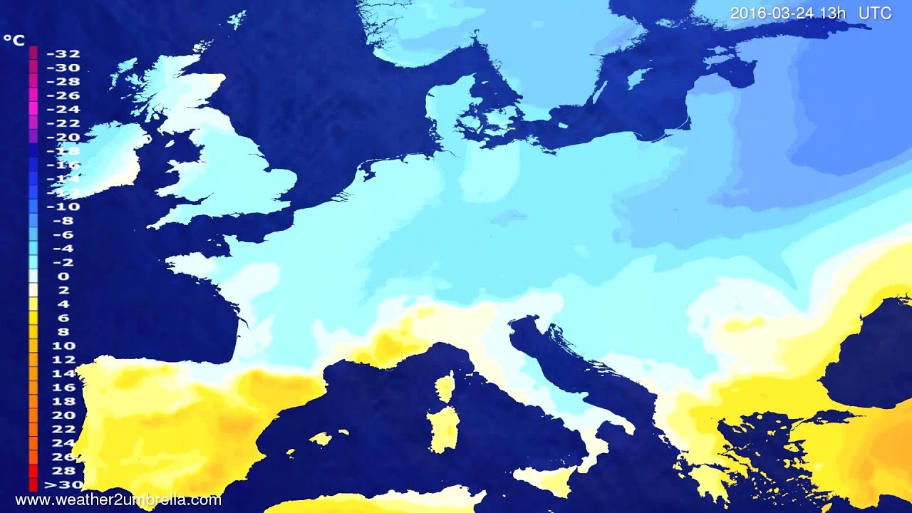Temperature forecast Europe 2016-03-21