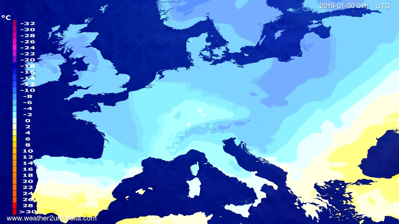 Temperature forecast Europe 2019-01-29