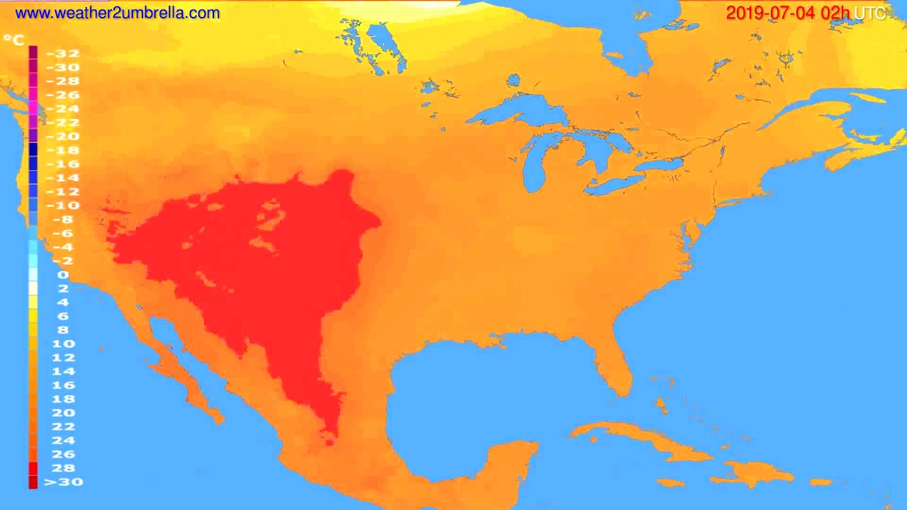 Temperature forecast USA & Canada // modelrun: 00h UTC 2019-07-02