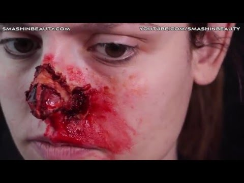 Ripped Shredded Nose Tip SFX Halloween Makeup Tutorial