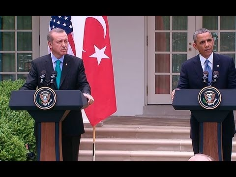 press - President Obama and Prime Minister Erdogan of Turkey hold a press conference.