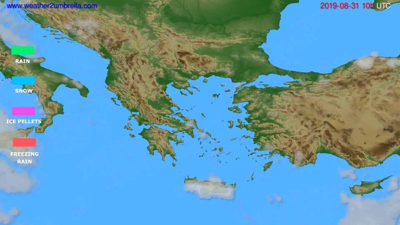 Precipitation forecast Greece // modelrun: 12h UTC 2019-08-28