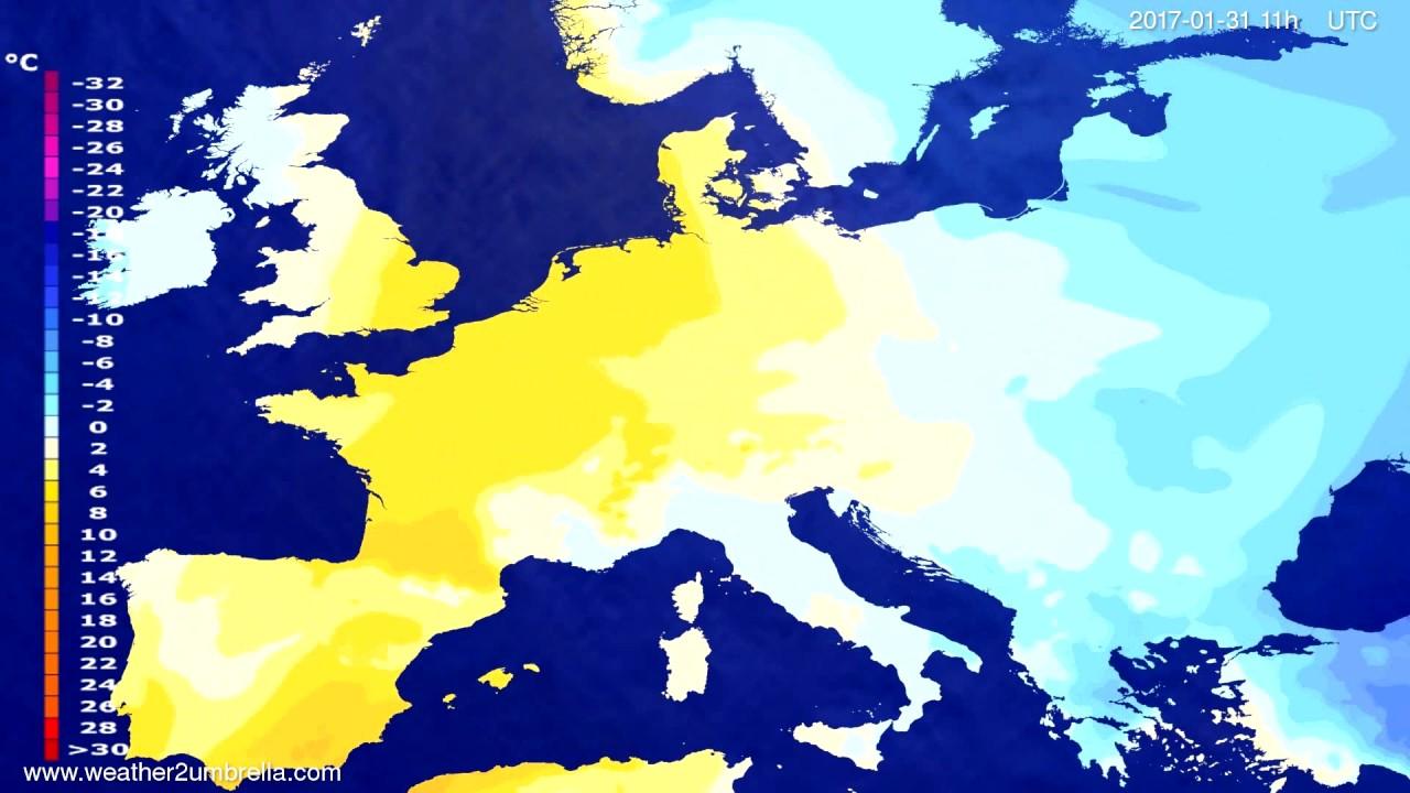 Temperature forecast Europe 2017-01-27