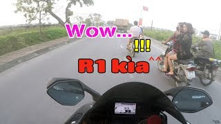 Video Girls's reactions when see Yamaha R1 | Motovlog MP3, 3GP, MP4, WEBM, AVI, FLV September 2019