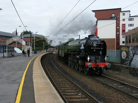 Trains at Newcastle and Manors featuring LNER A1 'Tornado'