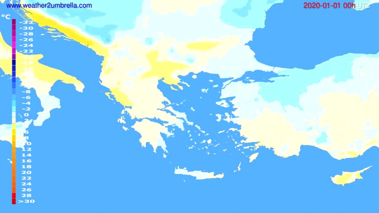 Temperature forecast Greece // modelrun: 00h UTC 2019-12-31