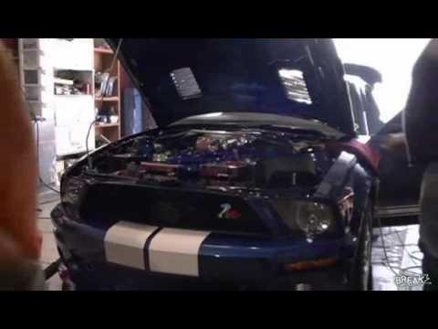 Supercharged Mustang GT 500 blows on the dyno