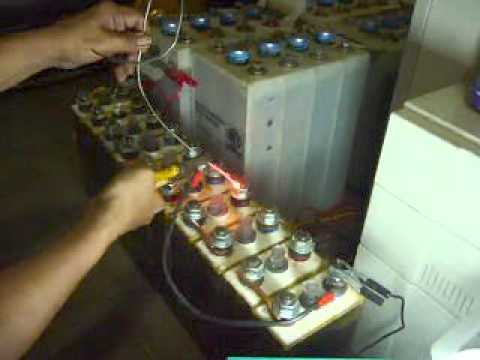 Nife - 3 cell NIFE battery 60 A load test on 350 AMP dummy nickel line.