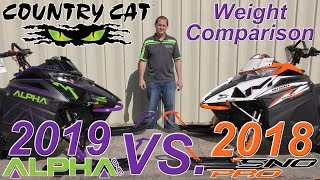 2. Country Cat - Weight Comparison Between 2019 Alpha One & 2018 M Sno Pro