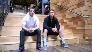 Strideline Socks Co-Founders Jake Director and Riley Goodman at evo Seattle