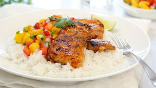 BBQ Lime Chicken with Mango Salsa & Coconut Rice | 20 Minute Dinner Ideas by The Domestic Geek