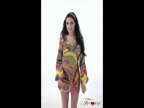 Fever 60's Flower Power Costume Multicoloured Video