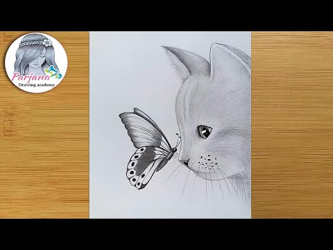 Play this video How to draw a cat with butterfly - pencil sketch for beginners   step by step drawing