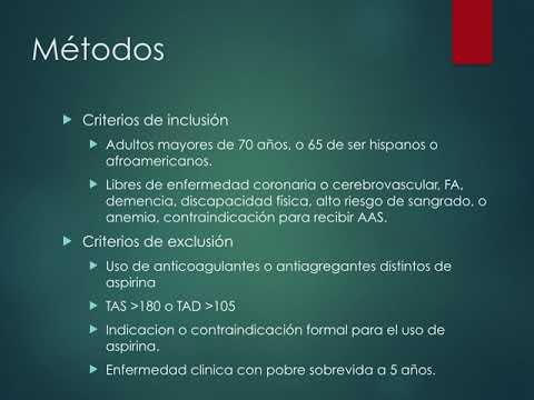 Efecto de la aspirina en eventos cardiovasculares y sangrado en ancianos sanos. Dr. Guido Vannoni. Residencia de Cardiología. Hospital C. Argerich. Buenos Aires