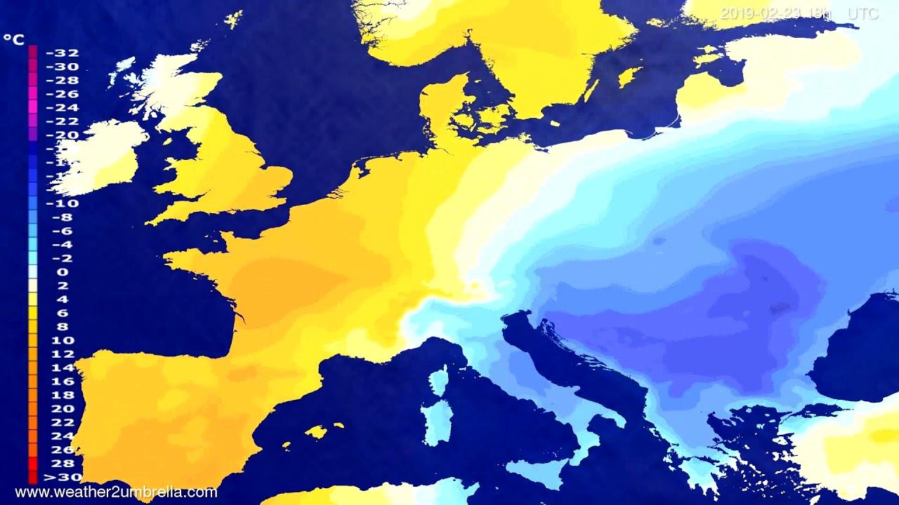 #Weather_Forecast// Temperature forecast Europe 2019-02-22