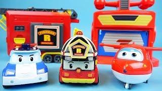Video Robocar Poli Super Wings station Roy fire car toys with Tayo Pororo MP3, 3GP, MP4, WEBM, AVI, FLV Oktober 2017