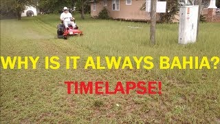 Mowing starts at 2:54. This version is time-lapsed with music. My old nemesis Bahia is back to make my life miserable. Honestly...