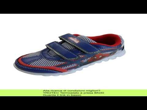 SPIDERMAN scarpe sportive bambino con LUCI a STRAPPO colore BLU/ROSSO ARTSPI2R00