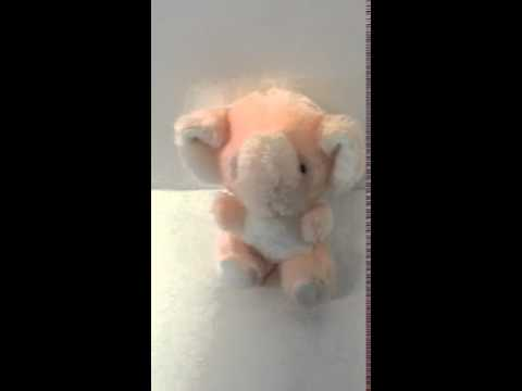 Vintage Baby Plush Pink Elephant with Rattle