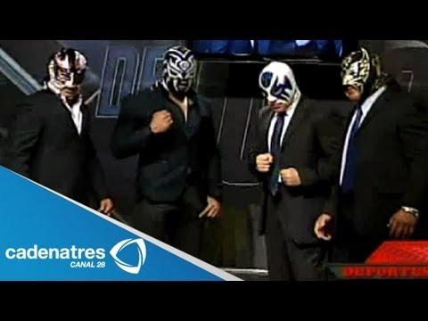 Atlantis, Último Guerrero, Volador Jr. y Sombra exponen la máscara en el 80 aniversario del CMLL