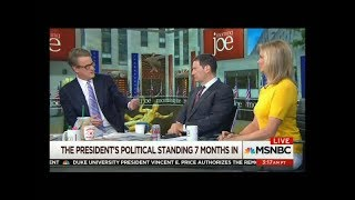 "On Morning Joe, Joe Scarborough refutes the notion that President Trump will be impeached or will resign, twice saying ""he's not ..."