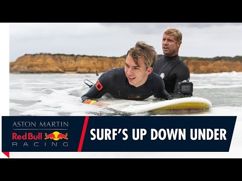 Surf's Up Down Under | Pierre Gasly gets treated to a Mick Fanning surf lesson видео