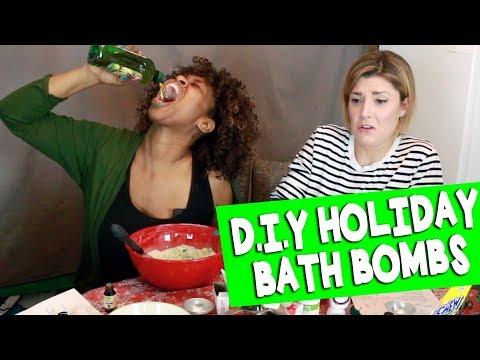 DIY HOLIDAY BATH BOMBS w/ GLOZELL // Grace Helbig