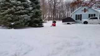 7. He had to learn the hard way...Polaris 120 Snowmobile 2015