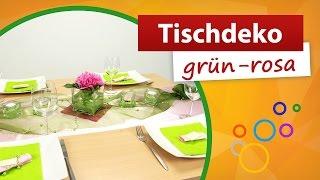 ♥ Tischdeko Grün Rosa ♥ Tischdekoration | Trendmarkt24