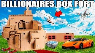 WORLDS BIGGEST BILLIONAIRE BOX FORT CHALLENGE!! 📦💰 24 Hour: Movie Theatre, Gaming Room, Escalator