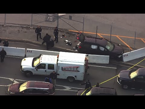 NSA shooting: SUV with bullet holes seen from helicopter
