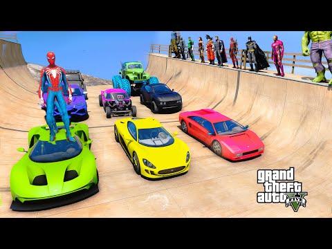 Superheroes Cars Challenge On Rampa With Spiderman, Iron man, Hulk, Batman Wonder woman - GTA V MODS