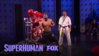 """Kamen takes the """"Just For Kicks"""" challenge.Subscribe now for more Superhuman clips: http://fox.tv/SubscribeFOXWatch more videos from Superhuman: http://fox.tv/SuperhumanSeason1PlaylistSee more of Superhuman on our official site: http://www.fox.com/superhumanLike Superhuman on Facebook: http://fox.tv/SuperHuman_FBFollow Superhuman on Twitter: http://fox.tv/SuperHuman_TWFollow Superhuman on Instagram: http://fox.tv/SuperHuman_IGLike FOX on Facebook: http://fox.tv/FOXTV_FBFollow FOX on Twitter: http://fox.tv/FOXTV_TwitterAdd FOX on Google+: http://fox.tv/FOXPlusGet ready to have your mind blown when SUPERHUMAN returns Monday, June 12 (9:00-10:00 PM ET/PT) on FOX. Hosted by actor Kal Penn, this jaw-dropping one-hour competition series will test the abilities of ordinary people to use their extraordinary skills to win a $50,000 grand prize. In each episode, five contestants who possess a distinct, nearly super-human ability in fields such as memory, hearing, taste, touch, smell, sight and more are challenged to push their skills to the limit, yet only one will take home the title of SUPERHUMAN and the $50,000 grand prize.Kamen Kicks And Punches His Way Through His Challenge  Season 1 Ep. 7  SUPERHUMANhttp://www.youtube.com/FoxBroadcasting"""