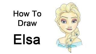 Видео: рисуем портрет Эльзы карандашом