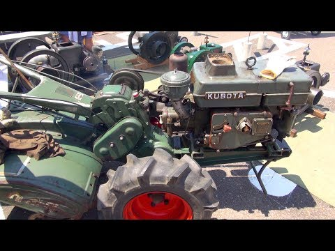 1950s KUBOTA Universe Engine Type KND5 with Rotary Tiller KUBOTA Type KF [Old Engines in Japan]